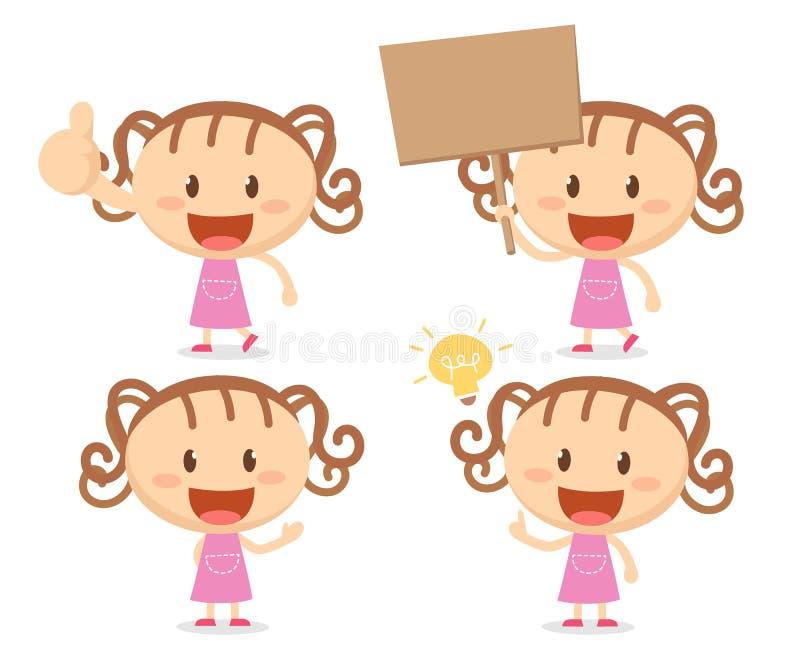 Κορίτσι στις ενέργειες Ευτυχής απεικόνιση αποθεμάτων