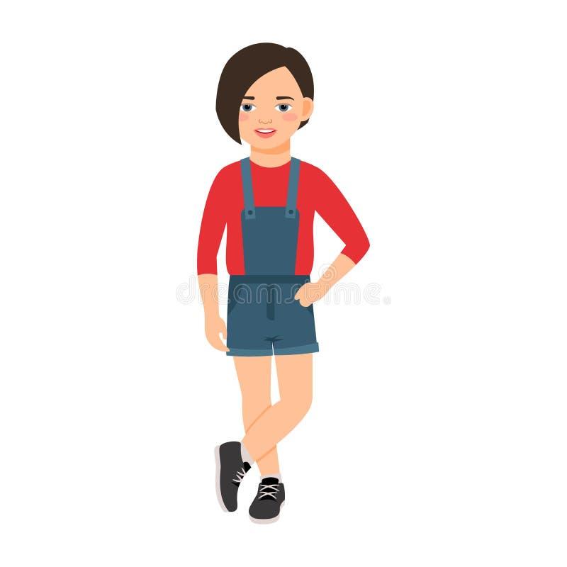 Κορίτσι στις φόρμες ενός τζιν ελεύθερη απεικόνιση δικαιώματος