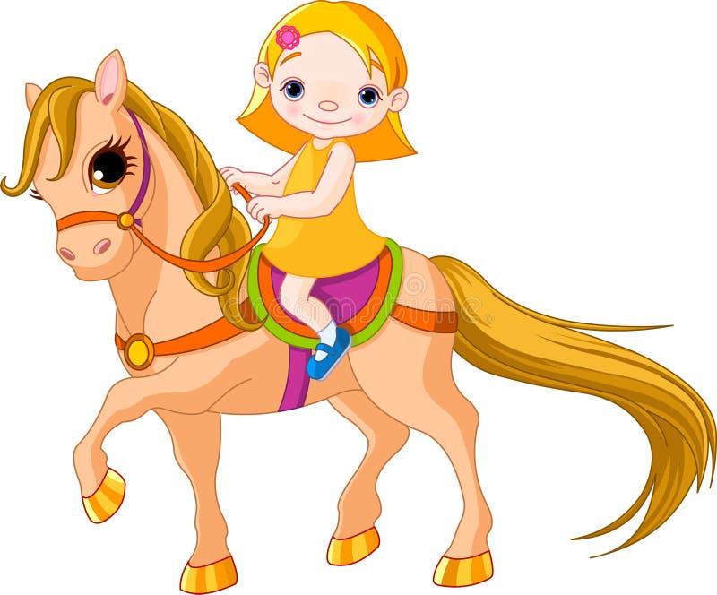 Κορίτσι στο άλογο διανυσματική απεικόνιση