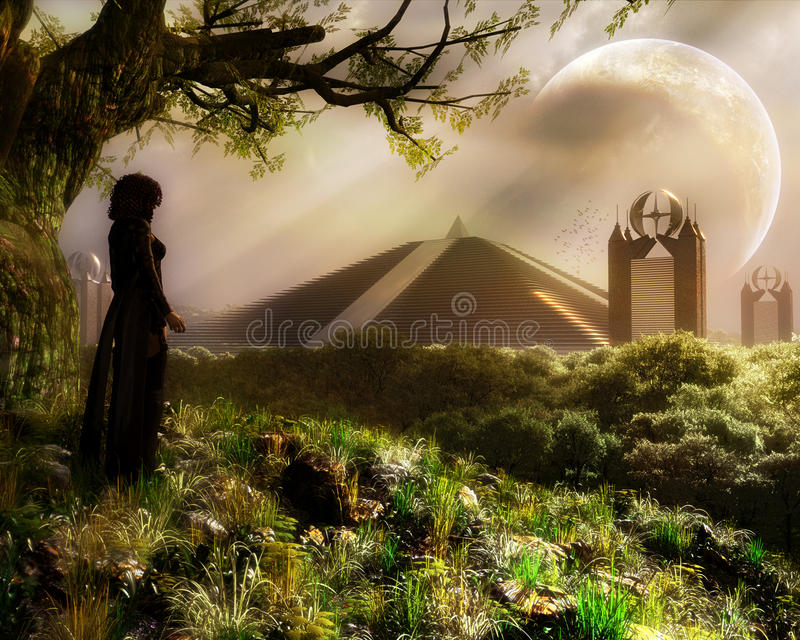 Κορίτσι στο δάσος φαντασίας απεικόνιση αποθεμάτων
