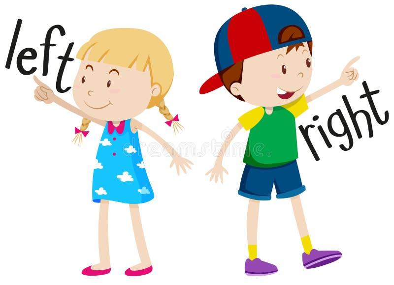 Κορίτσι στο αριστερό και αγόρι στο δικαίωμα απεικόνιση αποθεμάτων