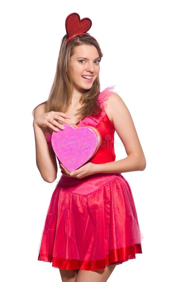Download Κορίτσι στο αρκετά φόρεμα με το κιβώτιο δώρων που απομονώνεται ρόδινο Στοκ Εικόνα - εικόνα από ροζ, ροδοειδής: 62703865