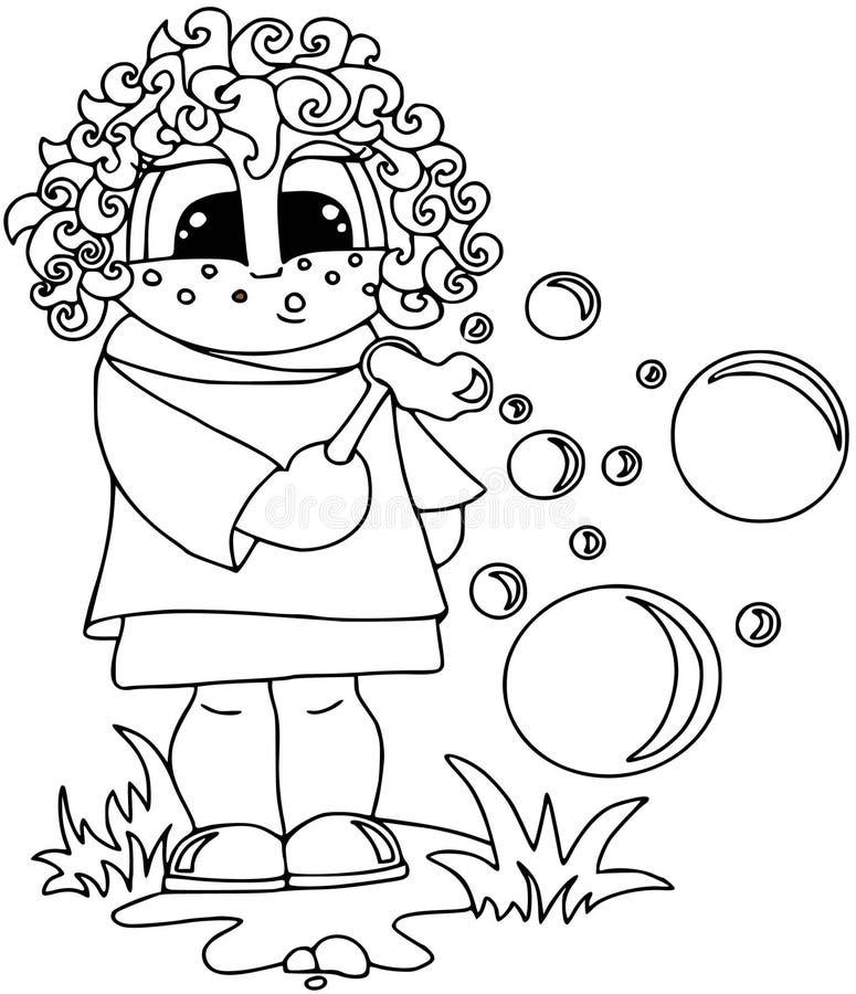 Κορίτσι στο επίπεδο ύφος στο άσπρο υπόβαθρο Σχέδιο περιγράμματος Χρωματισμός στο λευκό στοκ εικόνα με δικαίωμα ελεύθερης χρήσης