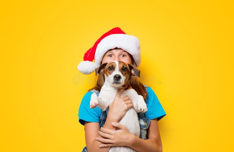 Κορίτσι στο καπέλο Χριστουγέννων με το σκυλί τεριέ του Russell γρύλων στοκ φωτογραφία με δικαίωμα ελεύθερης χρήσης