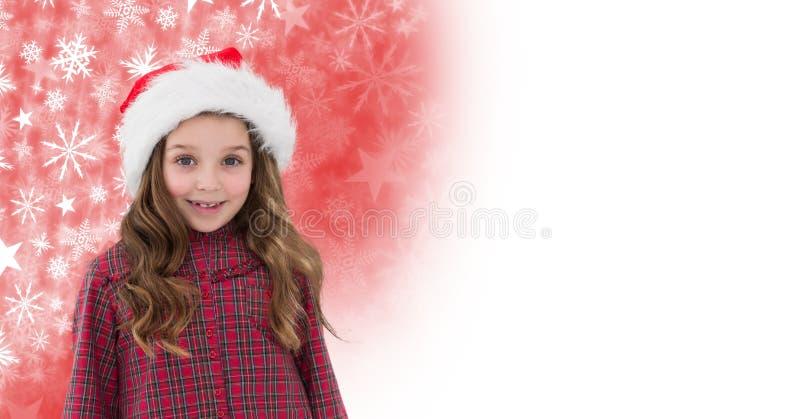 Κορίτσι στο καπέλο Santa και Snowflake το σχέδιο Χριστουγέννων και το κενό διάστημα στοκ φωτογραφία με δικαίωμα ελεύθερης χρήσης