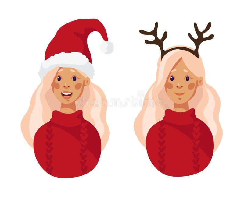 Κορίτσι στο καπέλο Santa Χαρούμενα Χριστούγεννα Κορίτσι στο καπέλο santa και τα κέρατα ενός ελαφιού Μεταμφίεση Χριστουγέννων διανυσματική απεικόνιση