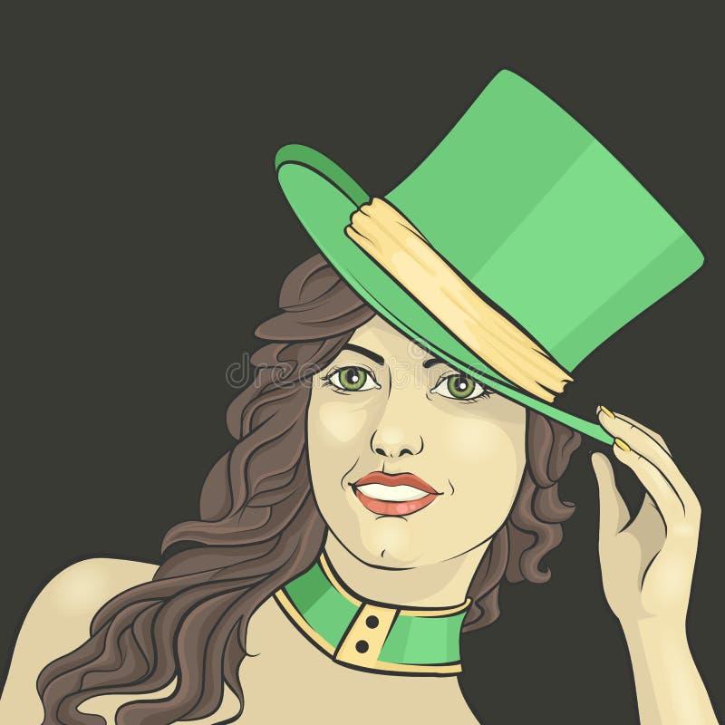Κορίτσι στο καπέλο ελεύθερη απεικόνιση δικαιώματος