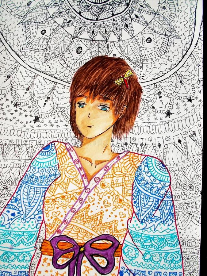 Κορίτσι στο κιμονό Το καλύτερο στοκ εικόνες