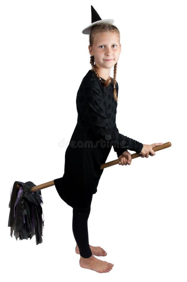 Κορίτσι στο κοστούμι αποκριών που απομονώνεται στο άσπρο υπόβαθρο στοκ φωτογραφία με δικαίωμα ελεύθερης χρήσης