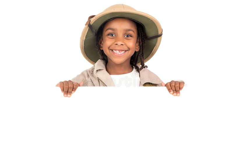 Κορίτσι στο κοστούμι σαφάρι στοκ εικόνες