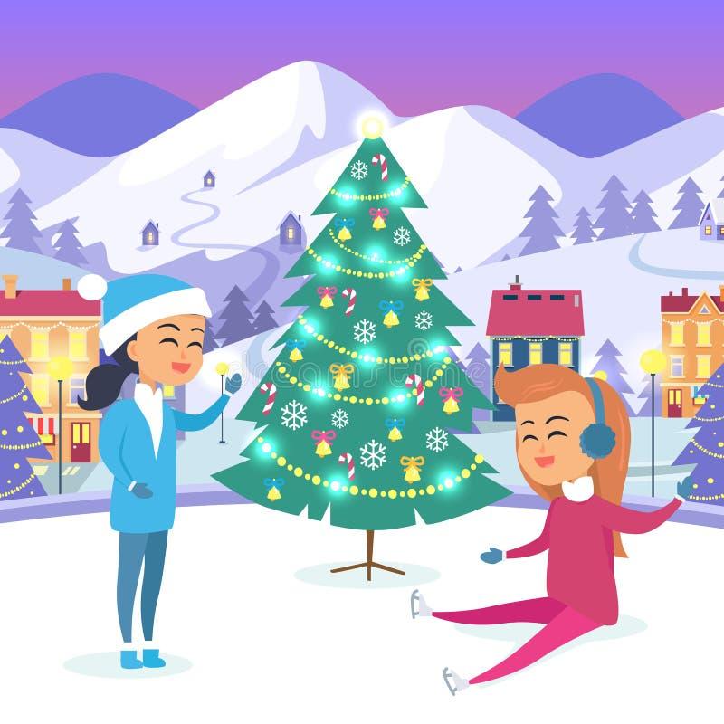 Κορίτσι στο κοστούμι χιόνι-κοριτσιών και έφηβος σε Icerink απεικόνιση αποθεμάτων