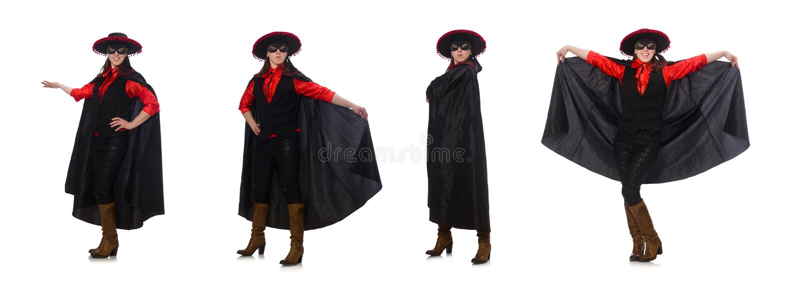 Κορίτσι στο μαύρο και κόκκινο κοστούμι καρναβαλιού που απομονώνεται στο λευκό στοκ φωτογραφία