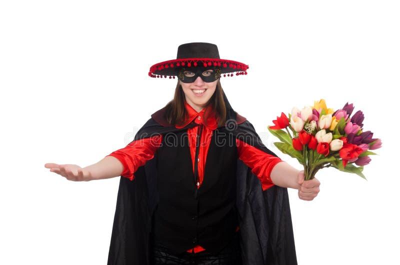 Download Κορίτσι στο μαύρο και κόκκινο κοστούμι καρναβαλιού που απομονώνεται επάνω Στοκ Εικόνες - εικόνα από παλτό, ερυθρός: 62704584