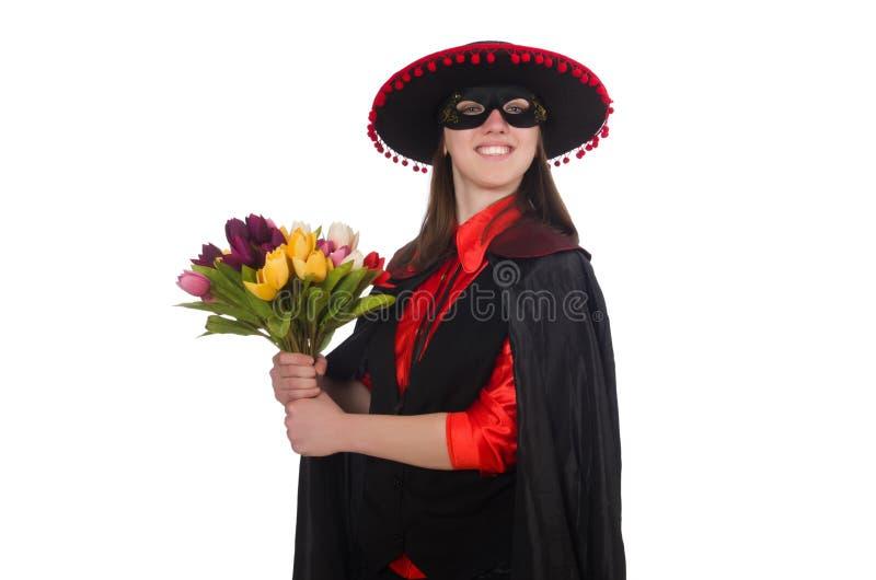 Download Κορίτσι στο μαύρο και κόκκινο κοστούμι καρναβαλιού που απομονώνεται επάνω Στοκ Εικόνες - εικόνα από ιματισμός, κόκκινος: 62704600