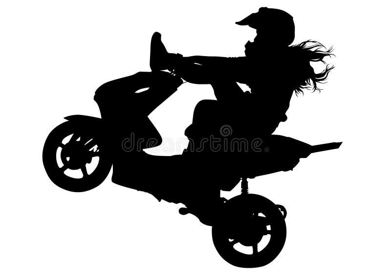 Κορίτσι στο μηχανικό δίκυκλο τρία ελεύθερη απεικόνιση δικαιώματος