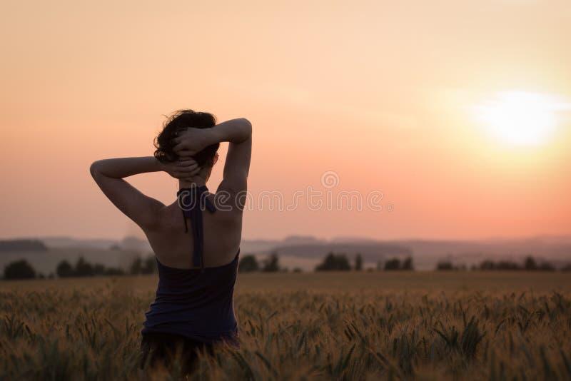 Κορίτσι στο πεδίο σίτου στοκ φωτογραφίες με δικαίωμα ελεύθερης χρήσης