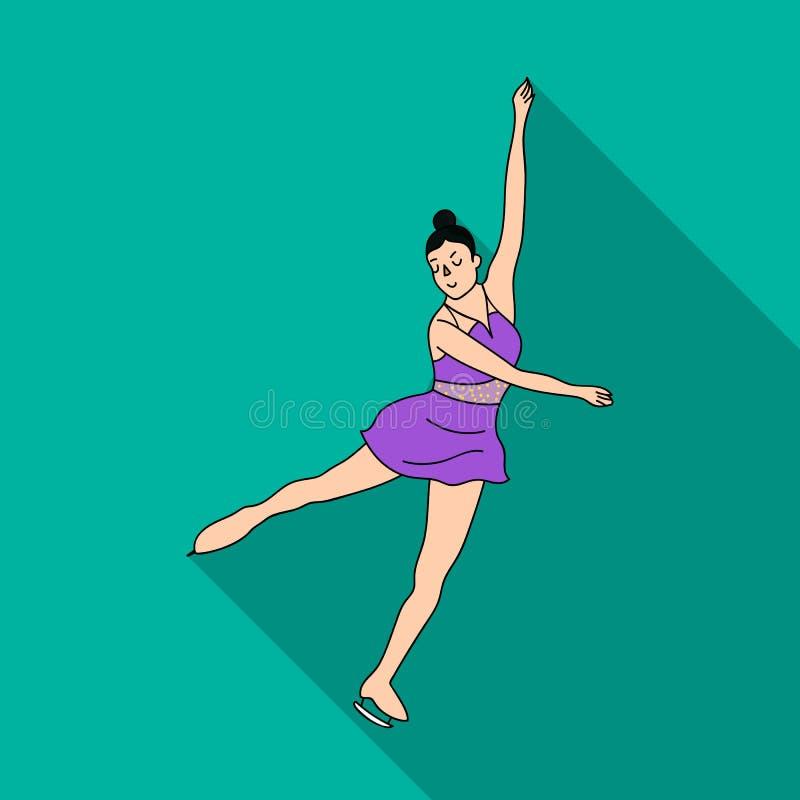 Κορίτσι στο πορφυρό φόρεμα που χορεύει στα σαλάχια στον πάγο Σκέιτερ αριθμού αθλητών Ολυμπιακό αθλητικό ενιαίο εικονίδιο στο επίπ διανυσματική απεικόνιση