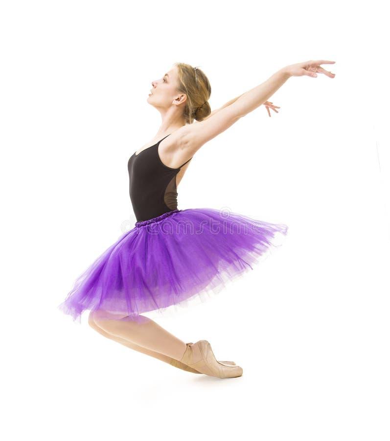 Κορίτσι στο πορφυρό tutu και το μαύρο μπαλέτο χορού leotard στοκ εικόνες με δικαίωμα ελεύθερης χρήσης