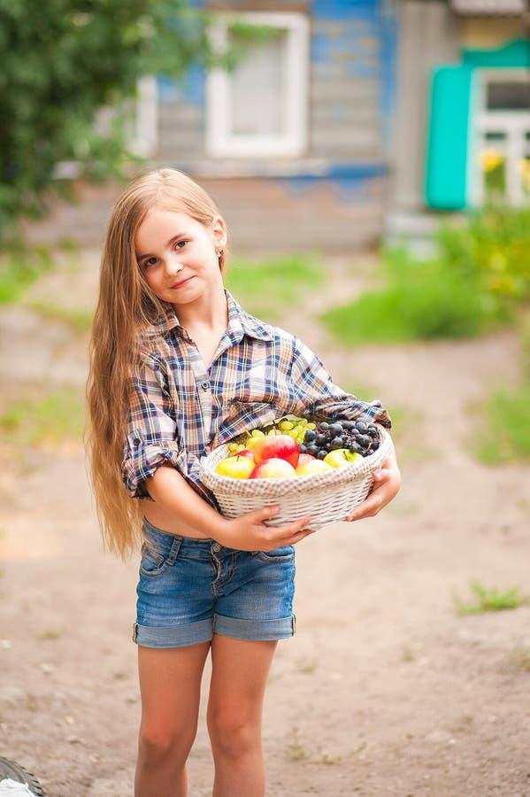Κορίτσι στο πουκάμισο και σορτς με ένα καλάθι των φρούτων Αγρότης κοριτσιών με τα μήλα και τα σταφύλια Έννοια των οικολογικών τρο στοκ εικόνες