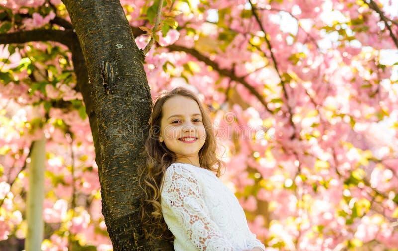 Κορίτσι στο πρόσωπο χαμόγελου που στέκεται κοντά στο sakura, άπαχο κρέας στον κορμό δέντρων Κορίτσι με το μακρυμάλλες υπαίθριο, ά στοκ εικόνες με δικαίωμα ελεύθερης χρήσης