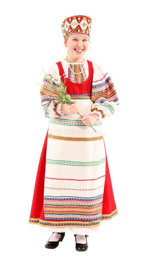 Κορίτσι στο ρωσικό εθνικό κοστούμι στοκ εικόνα
