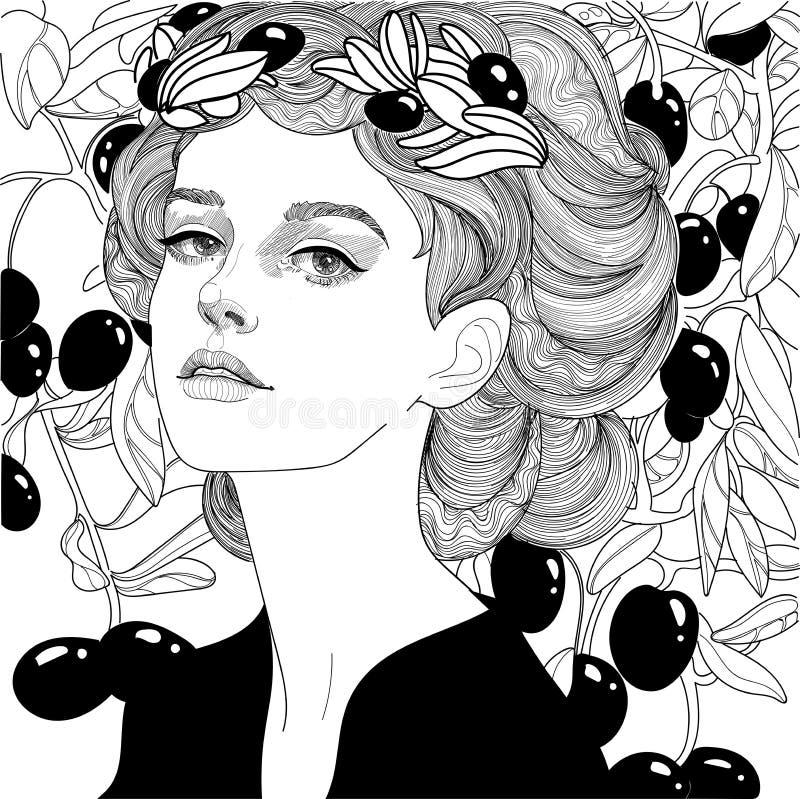 Κορίτσι στο στεφάνι ελιών διανυσματική απεικόνιση