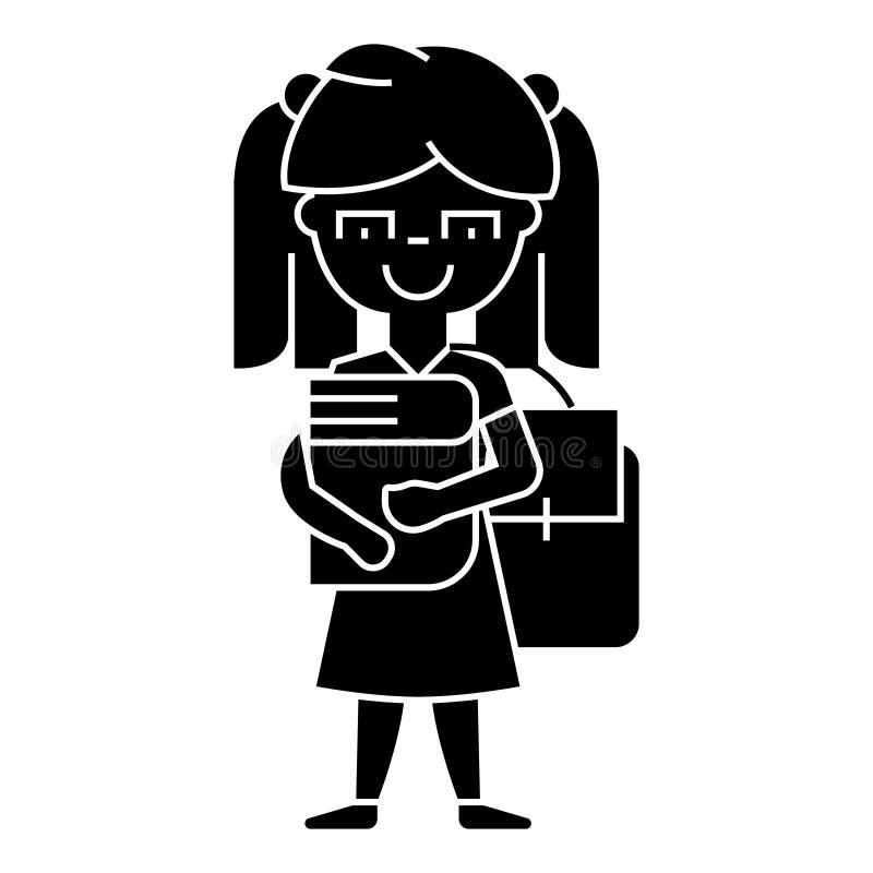 Κορίτσι στο σχολείο με το εικονίδιο βιβλίων και σακιδίων πλάτης, διανυσματική απεικόνιση, σημάδι στο απομονωμένο υπόβαθρο απεικόνιση αποθεμάτων
