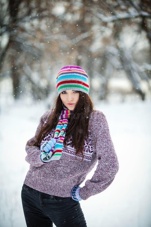 Κορίτσι στο χειμερινό δάσος στοκ εικόνα