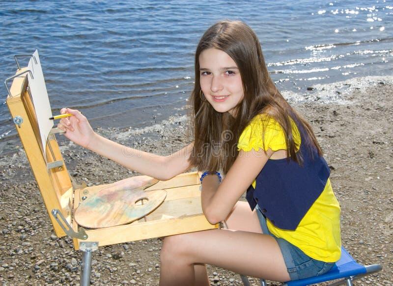 κορίτσι σχεδίων αέρα ανοι& στοκ εικόνα