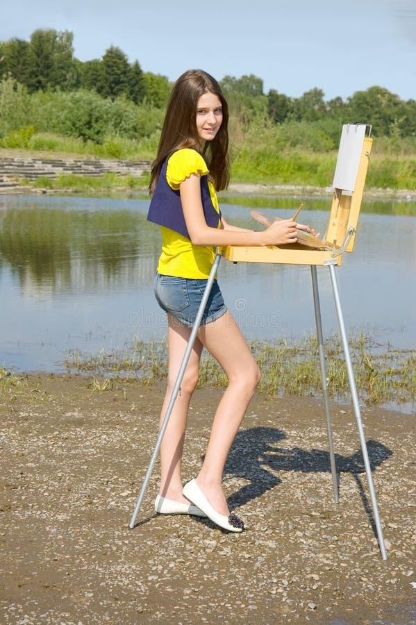 κορίτσι σχεδίων αέρα ανοι& στοκ φωτογραφία