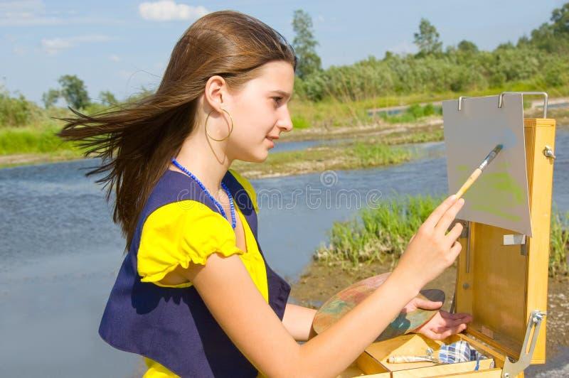 κορίτσι σχεδίων αέρα ανοι& στοκ φωτογραφία με δικαίωμα ελεύθερης χρήσης