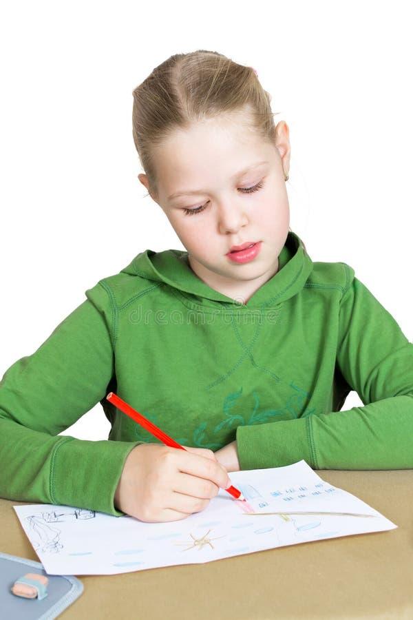 κορίτσι σχεδίων λίγο επιτραπέζιο λευκό στοκ φωτογραφίες