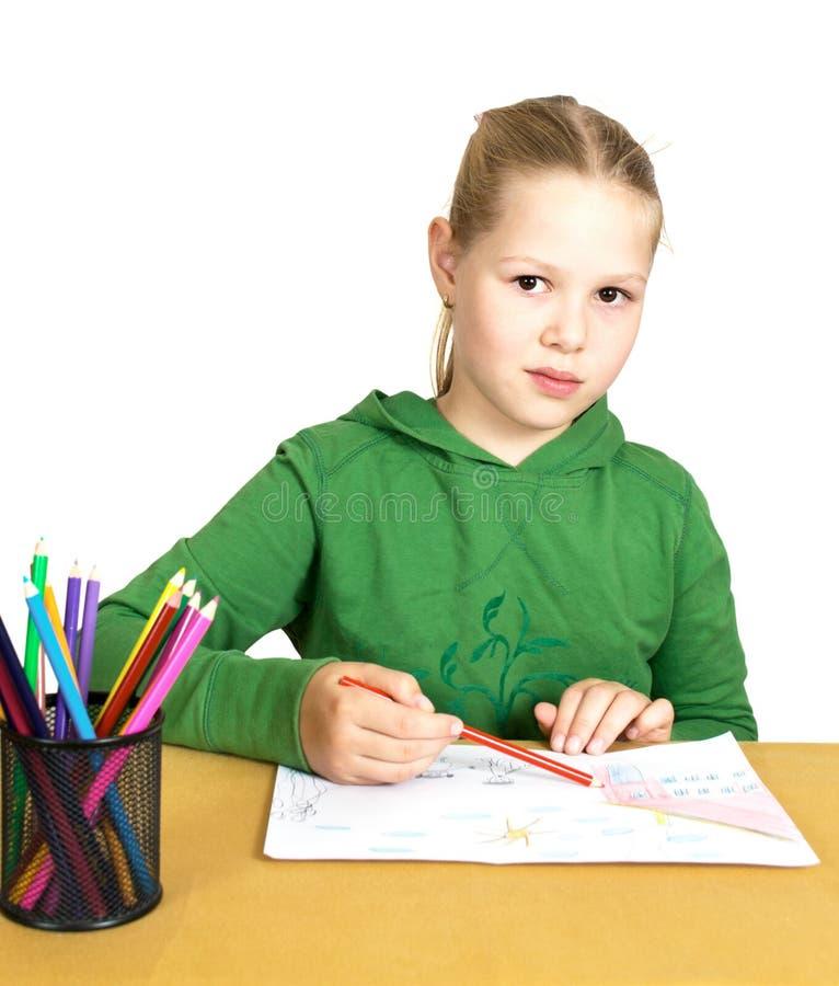 κορίτσι σχεδίων λίγο επιτραπέζιο λευκό στοκ φωτογραφία