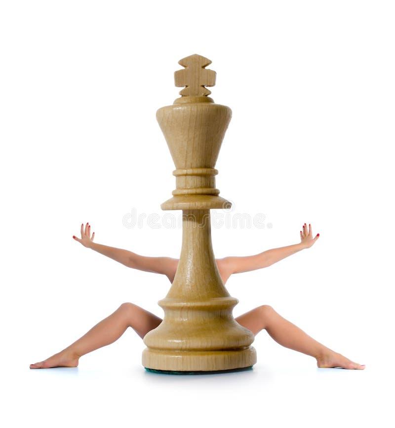 κορίτσι σύνθεσης σκακι&omicr στοκ εικόνα