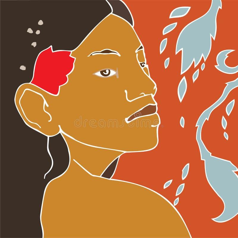 κορίτσι Ταϊτή διανυσματική απεικόνιση