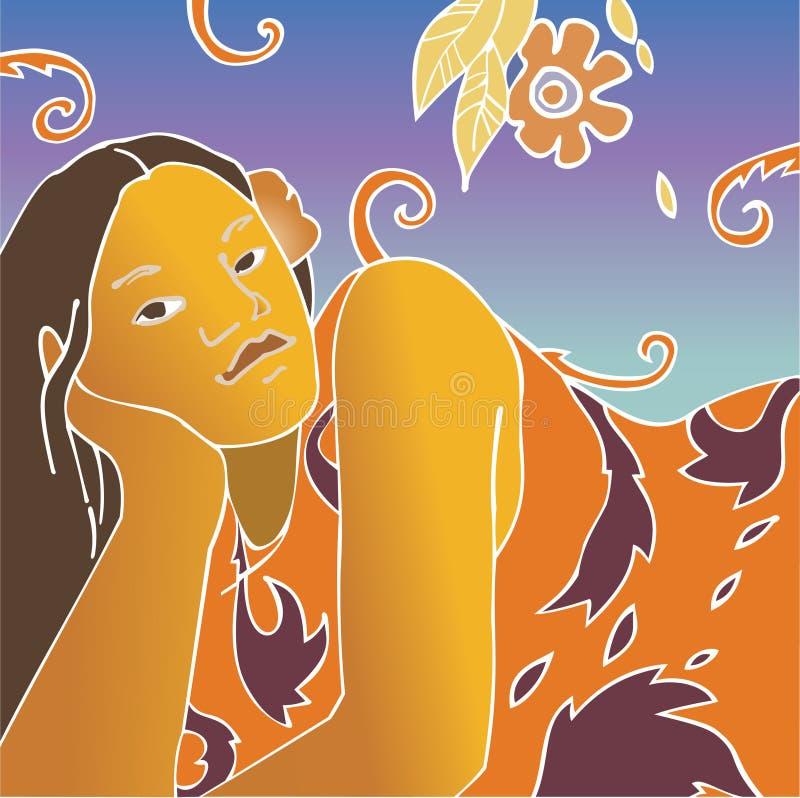 κορίτσι Ταϊτή απεικόνιση αποθεμάτων
