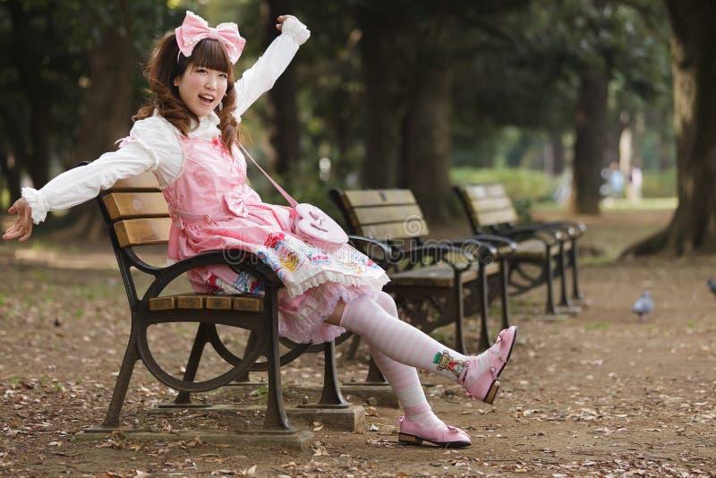 κορίτσι τα ευτυχή ιαπωνικά στοκ φωτογραφία με δικαίωμα ελεύθερης χρήσης