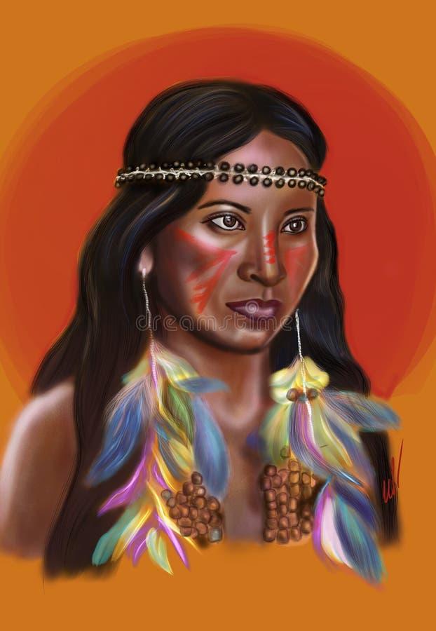 Κορίτσι της ινδικής φυλής στα σκουλαρίκια με τα χρωματισμένα φτερά απεικόνιση αποθεμάτων