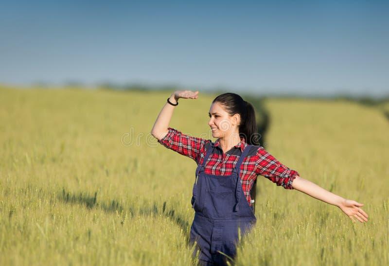 Κορίτσι της Farmer στον τομέα σίτου στοκ εικόνες