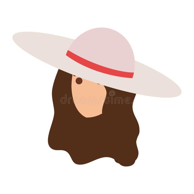 Κορίτσι τουριστών με τον επικεφαλής χαρακτήρα θερινών καπέλων ελεύθερη απεικόνιση δικαιώματος