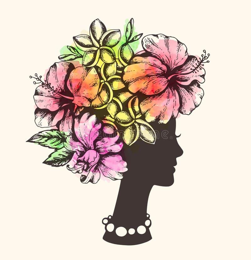 Κορίτσι, τροπικά λουλούδια και watercolor απεικόνιση αποθεμάτων