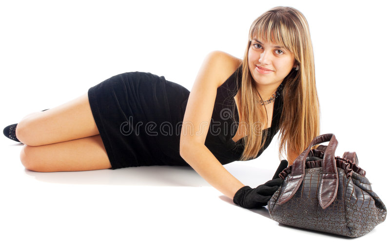κορίτσι τσαντών στοκ εικόνες