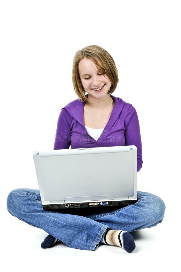 κορίτσι υπολογιστών στοκ φωτογραφία
