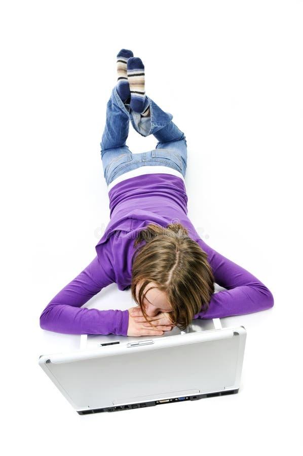κορίτσι υπολογιστών στοκ φωτογραφίες