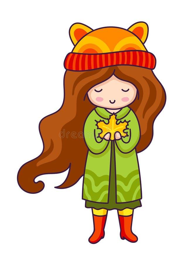 Κορίτσι φθινοπώρου Συρμένο χέρι μικρό κορίτσι με το φύλλο σφενδάμου στα χέρια της Χαρακτήρας κινουμένων σχεδίων Kawaii διανυσματική απεικόνιση