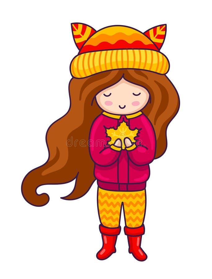 Κορίτσι φθινοπώρου Συρμένο χέρι μικρό κορίτσι με το φύλλο σφενδάμου στα χέρια της Χαρακτήρας κινουμένων σχεδίων Kawaii ελεύθερη απεικόνιση δικαιώματος