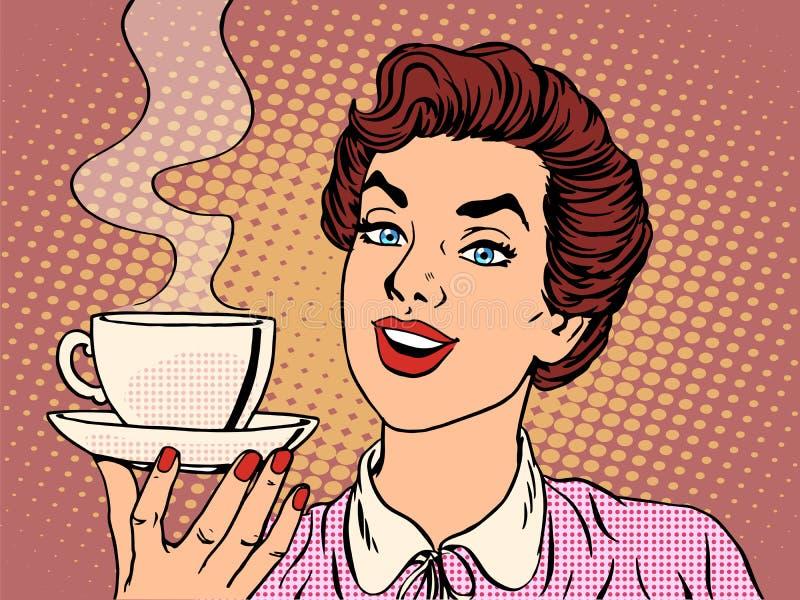 κορίτσι φλυτζανιών καφέ απεικόνιση αποθεμάτων