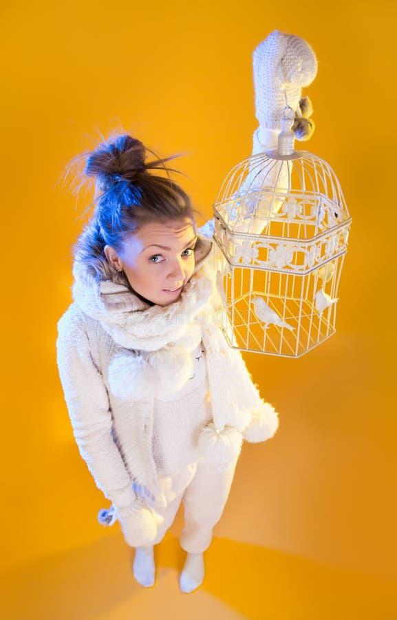 Κορίτσι χειμερινών Χριστουγέννων όμορφη φυσώντας γυναίκα χ&iota στοκ εικόνες
