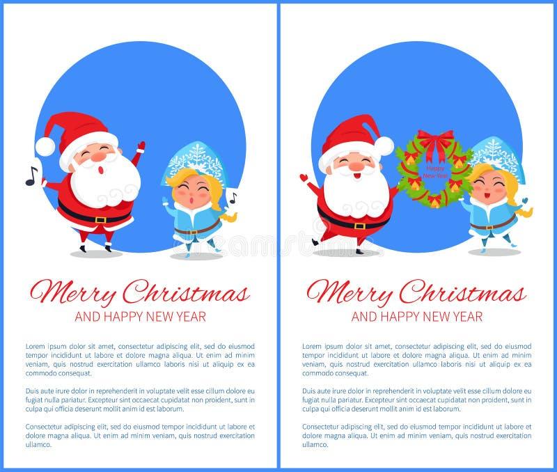 Κορίτσι χιονιού καλής χρονιάς Santa Χαρούμενα Χριστούγεννας απεικόνιση αποθεμάτων