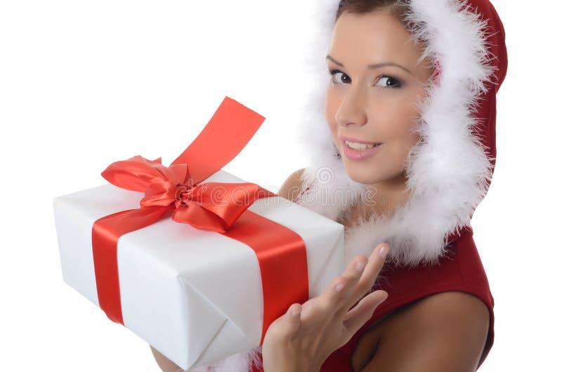 Κορίτσι Χριστουγέννων με τα κιβώτια των δώρων στοκ φωτογραφία με δικαίωμα ελεύθερης χρήσης